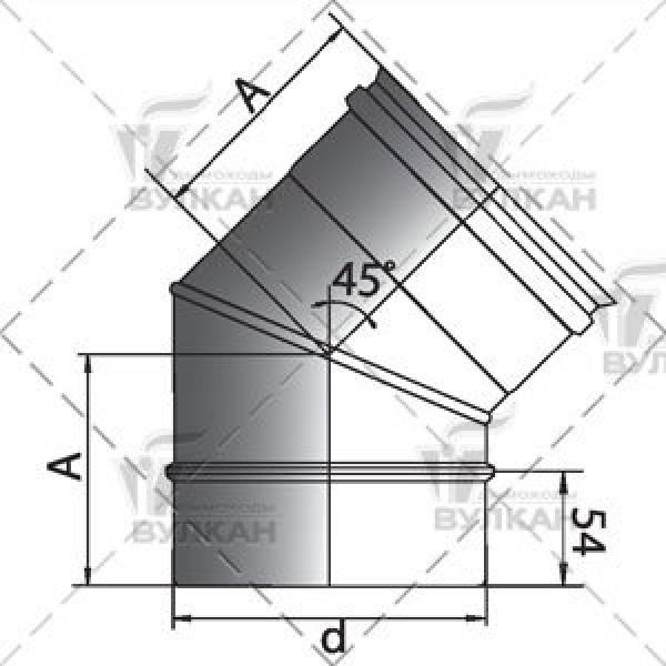 Отвод 45° D115 без изоляции, зеркальный (Вулкан)