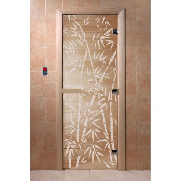 Дверь Бамбук и бабочки прозрачная
