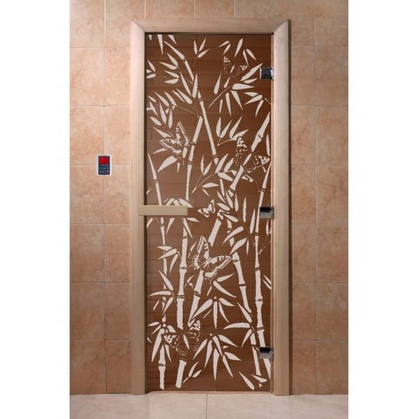 Дверь Бамбук и бабочки бронза