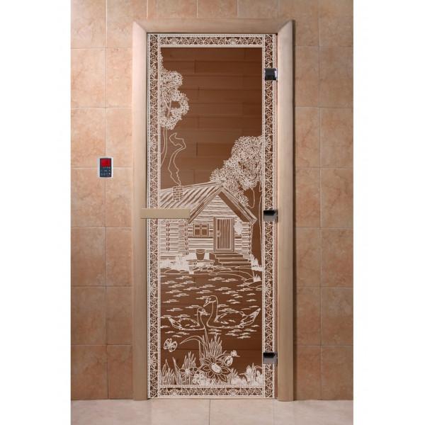 Дверь Банька в лесу бронза