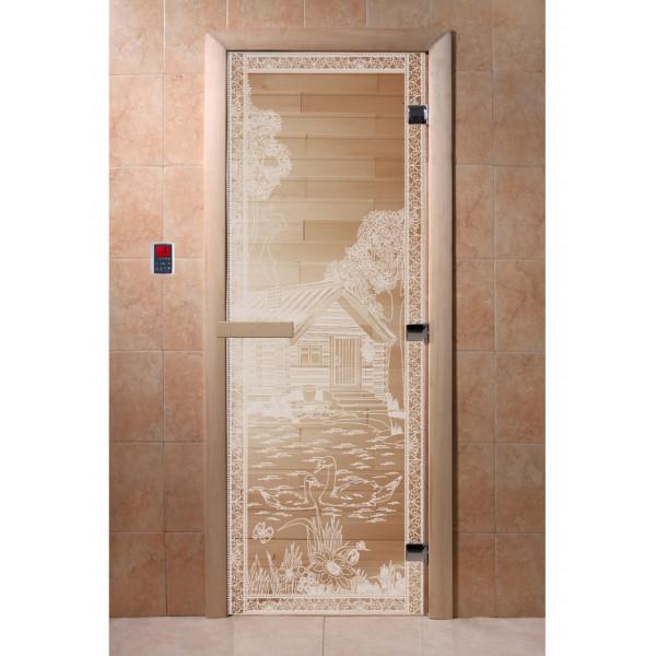 Дверь Банька в лесу прозрачная