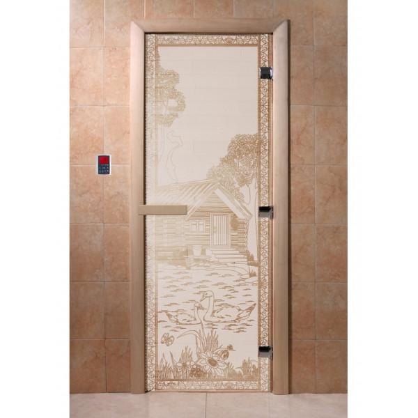 Дверь Банька в лесу сатин