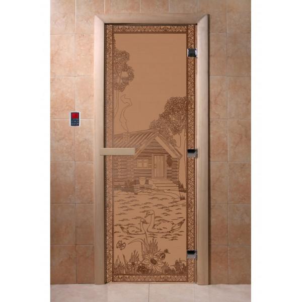 Дверь Банька в лесу бронза матовая