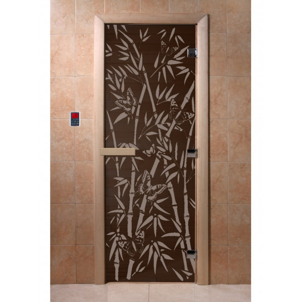Дверь Бамбук и бабочки черный жемчуг