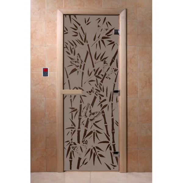 Дверь Бамбук и бабочки черный жемчуг матовая