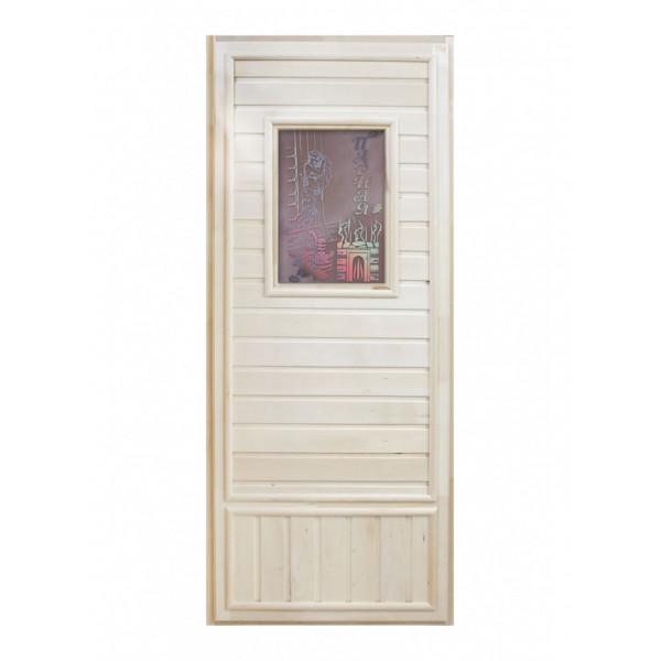 Дверь Вагонка со стеклом Девушка в баньке