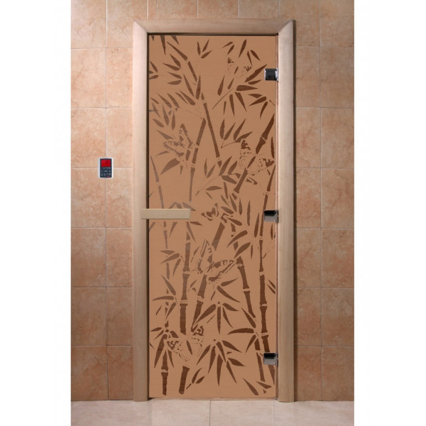 Дверь Бамбук и бабочки бронза матовая