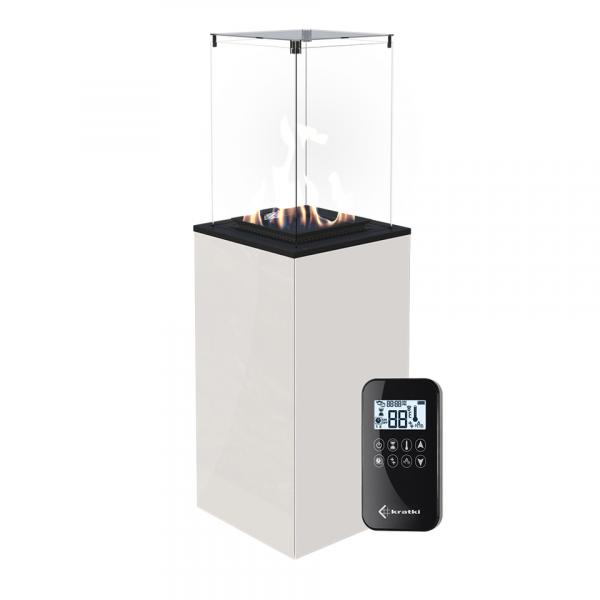 Газовый обогреватель Kratki PATIO/MINI/G30/37MBAR/B (уличный) - белое стекло, с пультом ДУ (8,2 кВт)